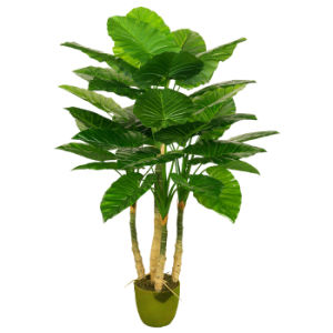 Artificial Green Tree Plants 120cm Taro with Green Plastic Pot, 4 Sterms, 34 Lvs