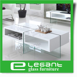 Clear Bent Glass Coffee Table With Ash Wood Veneer Shelf