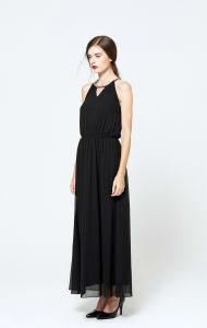 2017 Black Chiffon Long Maxi Evening Dress Sexy Halter Women Sexy Dresses pictures & photos