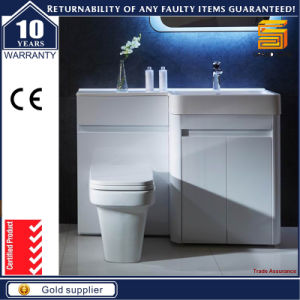 European MDF White Lacquer Bathroom Furniture Cabinet with Legs pictures & photos