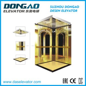 Smr Passenger Lift with Golden Etching Decoration pictures & photos