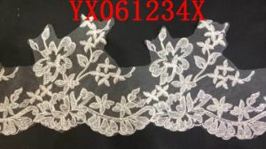 White Flat Embroidery Lace Fabric Manufacture for Lady Garmen pictures & photos