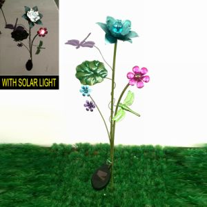 Garden Decoration Glass Ball Solar Power Metal Butterfly Stake pictures & photos