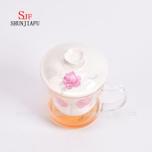 Heat - Resistant Glass Flower Cup Ceramic Liner Filter on Office Transparent Cups Covered, 400ml pictures & photos