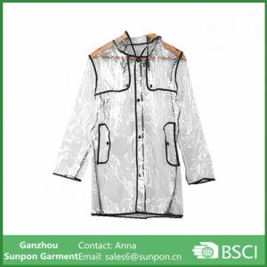 New PVC Fashion Girls Transparent Clear Long Raincoat pictures & photos