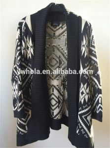 New Design Black and White Batwing Women Knit Cardigan Sweater pictures & photos