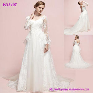 Real Photos Long Sleeves Long Bridal Design Wedding Dress W18107 pictures & photos