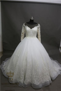 New Long Wedding Dress 2017 Long Sleeve Chapel Train A-Line Lace Tulle Bride Dresses