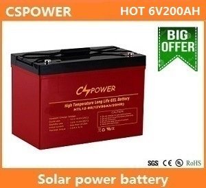 Cspower 6V210ah Solar Deep Cycle Gel Battery for UPS, China Supplier pictures & photos