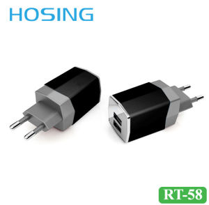 5V 2.1A Dual USB Fast Wall Charger Black/White/ Gray for Mobile Phone pictures & photos