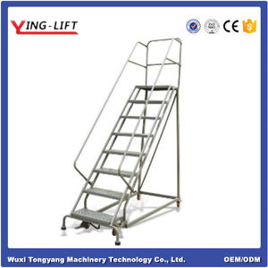 3 Meter Warehouse Rolling Steel Step Ladder pictures & photos