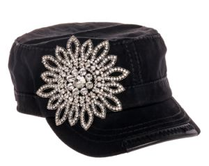 Floral Rhinestone Cadet Hat pictures & photos