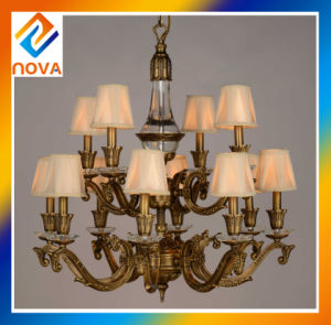 Bronze Chandelier Lamp 6+4 Heads with Fabric Shade ceiling Light pictures & photos