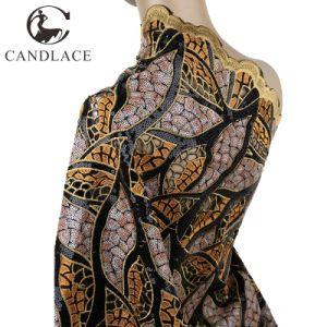 Fashion Design Black Orange Organza Lace Fabric pictures & photos