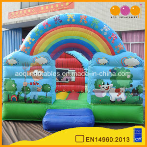 China Inflatable Children′s Playground Animal Theme Rainbow Bouncer with Cartoon Painting (AQ0105-1) pictures & photos