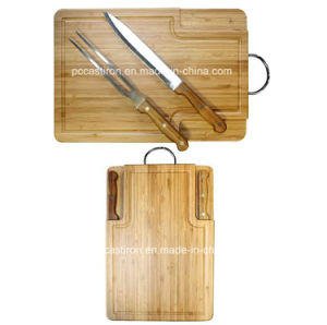 BBQ Tools Set Fork Knife with Bamboo Chopping Board pictures & photos