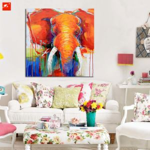 Orange Elephant Oil Painting with Frame pictures & photos