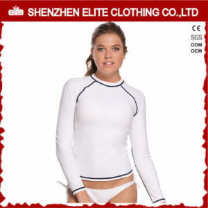 High Quality Plain White Women Long Sleeve Rash Guards (ELTRGI-47) pictures & photos