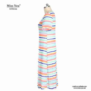 Miss You Ailinna 802030 Women Print Stripe Pattern Cotton Dress pictures & photos