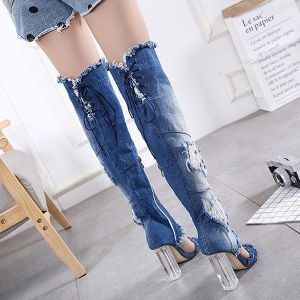 Summer Lady Sexy Sandals Knee High Boots Jean Style (HT-S10012) pictures & photos