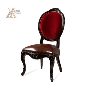 Leather and Fabric Dining Chair with Armrest (E003) pictures & photos