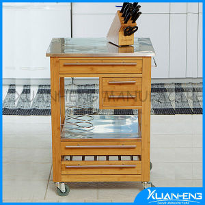 New Kyoto Bamboo Home Kitchen Storage Rolling Serving Cart Island Trolley pictures & photos