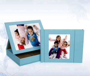 Light Blue Baby Stiching Digital Cover with Display Leather Box