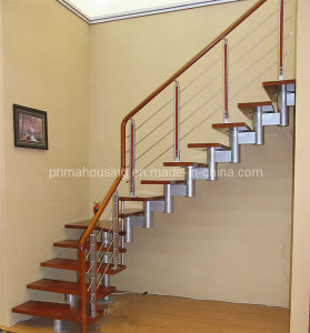 Modern Staircase for Home / Steel Wood Staircase with Wood Stair Tread (PR-L1035) pictures & photos