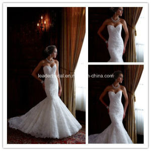 New Strapless Lace Applique Mermaid Wedding Gowns Yao100 pictures & photos