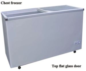 Chest Freeer with Top Flat Glass Door pictures & photos