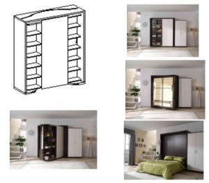 Revolving Modern Double Space Saving Wall Bed With Cabinet pictures & photos
