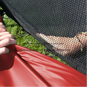 12FT Red Ground Trampoline with 6 Legs and Safety Enclosure Net pictures & photos