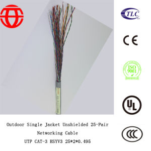 Outdoor Single Jacket Unshielded 25-Pair Networking Ethernet Cable Hsyv3 pictures & photos