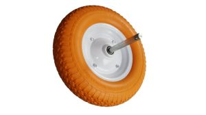 Wheelbarrow Wheel Tire PU 4.80/4.00-8, Steel Rim with Alxe 20X360 pictures & photos