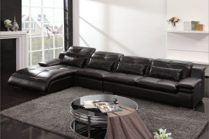 High Quality Black Genuine Leather Sofa (0411) pictures & photos