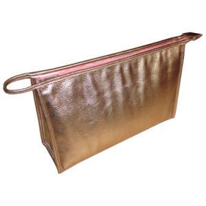 Golden Metallic PU Leather Cosmetic Makeup pictures & photos