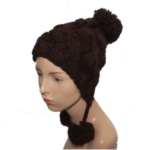 Fashion Custom Logo Winter Cap Lady Knitted Hat with Pompom pictures & photos