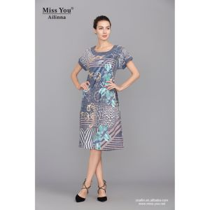 Miss You Ailinna 101503 Short Linen Dress Factory Directly Sale Fashion Beaded Floral Dress pictures & photos