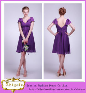 Elegant Chiffon Purple V-Neck Knee Length V-Back A-Line Ruched Short Sleeve Bridesmaid Dress Yj0112