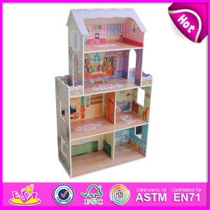 2014 New Cute Kids Wooden Doll House, Popular Lovely Children Wooden Doll House, Fashion DIY Wooden Doll House Factory W06A080 pictures & photos