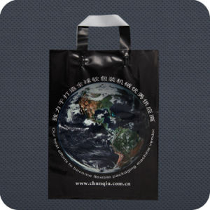Custom Printed Plastic Shopping Bag with Soft-Loop Handle pictures & photos