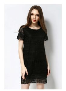 Factory Cheap Wholesale Summer Short Sleeve Mini Lace Dress pictures & photos
