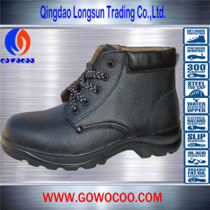 Hot Sale Embossed Leather Middle-Cut Safety Shoes/Footwear (GWRU-3003)