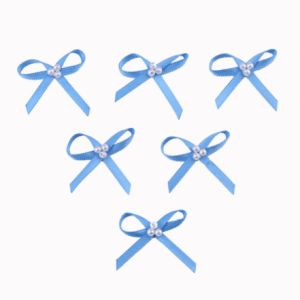 Blue Satin Ribbon Bow with Pearl pictures & photos