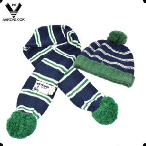 Fashion Cute Knitted Children Beanie and Scarf with Pompom pictures & photos