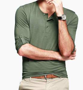 Male Plain Blank Light Slim Fit Green T-Shirts pictures & photos