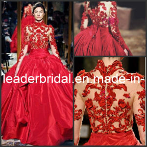 Red Accent Zuhairmurad Choker Neck Long Sleeves Bridal Ball Gown W13119 pictures & photos