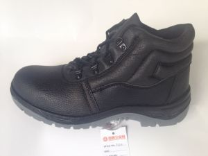 Work Safety Shoe with Upper Split Embossed Leather Sole PU