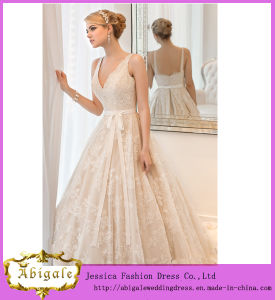 Elegant Hot Empire V-Neck Lace Tulle Sleeveless Sash Wedding Dresses for Pregnant Women Yj0037 pictures & photos