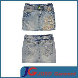 Women Vintage Denim Appliqued Skirt (JC2099) pictures & photos